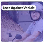 Picture showing a man wearing a helmet and riding his bike and a message showing Loan against Vehicle